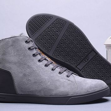 LFMON UGG 1008165 Tall Suede Men Fashion Casual Wool Winter Snow Boots Grey