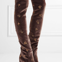 Aquazzura - Fauna embellished velvet over-the-knee boots