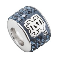 LogoArt Notre Dame Fighting Irish Sterling Silver Crystal Logo Bead - Made with Swarovski Elements (Blue)