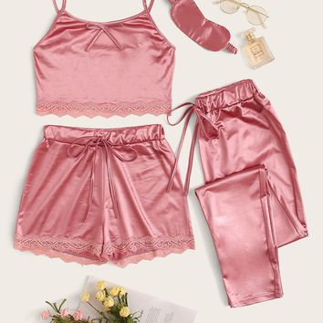 4Pcs Lace Trim Satin Cami PJ Set With Eye Mask