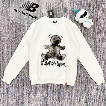 New Balance Fashion New Bear Letter Print Women Men Long Sleeve Top Sweater White