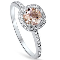 1.00Ct Morganite & Diamond Cushion Halo Engagement Ring 14K White Gold Size 4-9