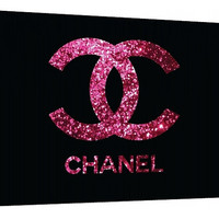 Pink and black Glitter Chanel logo Canvas - Typography - Wall Art - Print Poster - Modern Decor - Chanel logo - purple glitter chanel