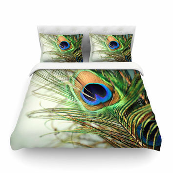 "Sylvia Cook ""Teal Peacock Feather"" Featherweight Duvet Cover"