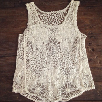 Embroidery Crochet Lace Tank Top in ivory // size: XS S M