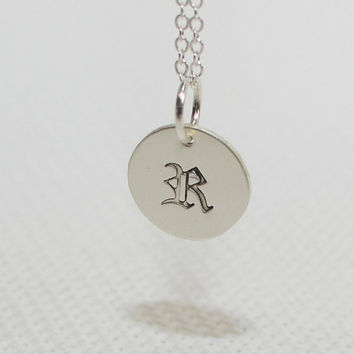 Dainty silver monogram charm necklace old english font