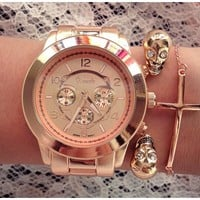 Rose Gold Oversized Chronograph Watch — Sab Accessories