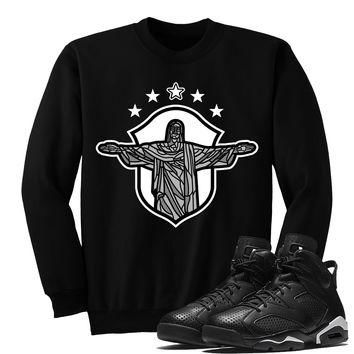 REDEEMER(SWEATER)-Jordan BLACK CAT 6's Sneaker Match T-Shirt Tees, Nike Retro