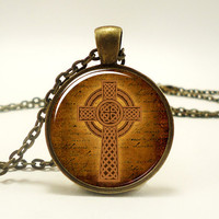 Celtic Cross Necklace, Celtic Knot Jewelry (0926B1IN)