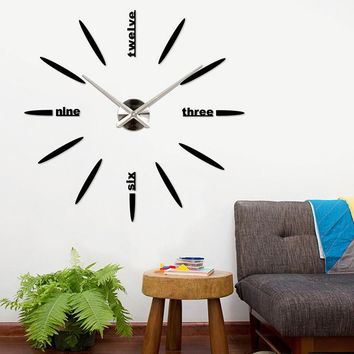 Factory Price! Quartz DIY Modern Clocks Needle Acrylic Watches Big Wall Clock Mirror Sticker Living Room Decor