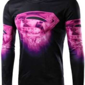 Black and Purple Superman Logo Print Long Sleeve T-Shirt