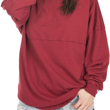The Women's Football Jersey Tee in Maroon