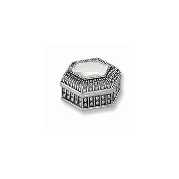 Antiqued Silver-plated Medium Hexagon Dot Jewelry Box - Engravable Gift Item