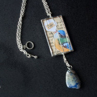 Freedom necklace. Yellow and blue bird jewelry. Bird cage necklace. Soldered glass pendant. Vintage paper. Book pages