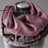Violet Floral Layered Infinity Scarf