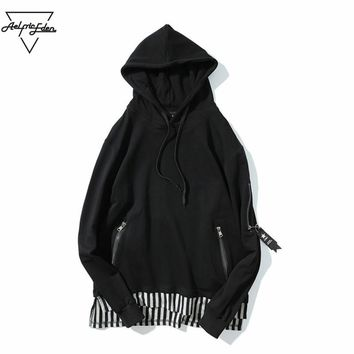 Black White Striped Patchwork Fake Two Pieces Men Hoodies Sweatshirts Zipper Ribbon Hip Hop Pullover Hoodie