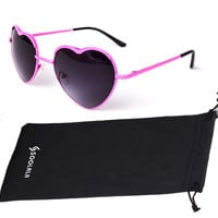 Fashion Full Thin Metal Sweety Heart Shaped Frame Cupid Polarized Sunglasses