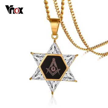 Vnox New Hexagon Masonic Star Of David Pendant For Men Women Necklace CZ Stones Stainless Steel Freemason Masonry Casual Jewelry