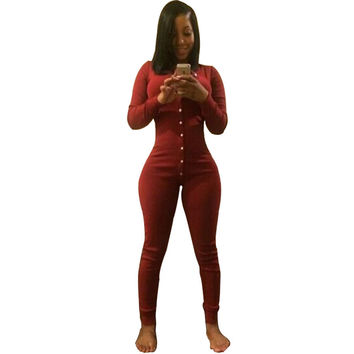 Long Sexy Jumpsuit Overalls Thick Velvet Winter Rompers BodyCon Tight Bodysuit