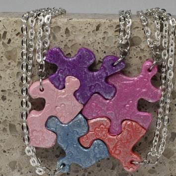 Puzzle Piece Necklace Set of 5 Best Friend Pendants Polymer Clay Cherry Blossom Set 142