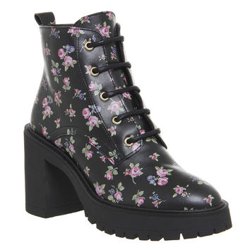 Office Lemonade Chunky Lace Up Boots Black Floral - Ankle Boots