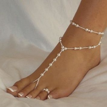 Women's Pretty Pearl Barefoot Sandal Anklet - Free Shipping