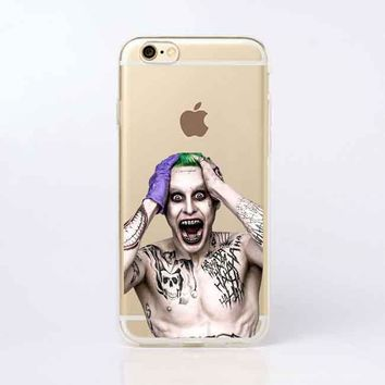 Suicide Squad Joker Harley Quinn Transparent Soft silicone TPU  Phone Cases Cover for iPhone 5 5S SE 6 6SPlus 7 7Plus 8 8Plus X