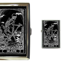 Death Card Tarot Cigarette Case and lighter gift set