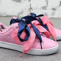 """Puma"" Women Personality Fashion Casual Bow Shoelace Plate Shoes Sneakers"