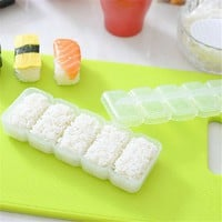Cooking Baking Japan Nigiri Sushi Mold Rice Ball 5 Rolls Maker Non Stick Press Bento Tool White  Kitchen