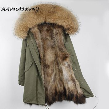 Brand Winter Jacket Women Long Real Fox Fur Coat Female Warm Fur Jackets Natural Raccoon Fur Collar Real Fur Lined Parka 2017