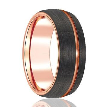 Men's Domed Rose Gold Inlaid Tungsten Wedding Band Brushed Finish - 8mm