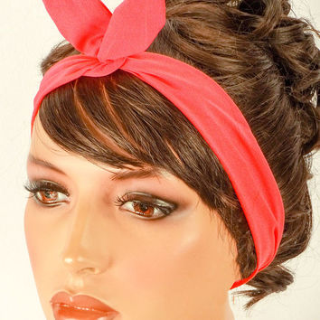 Vintage Inspired Head Scarf Bandanna Style Hair Scarf 1940s 1950s Rockabilly Headwrap Pinup Hair Wrap Dolly Bow Wire Headband Coral Hair Bow