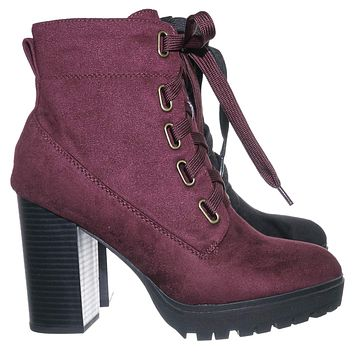 Timeout Block Heel Combat Bootie - Women Heave Lug Sole Lace Up Ankle Boots