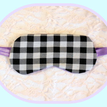 Sleep Mask - Black White Plaid Checks - Light Blocking - Padded - Soft Purple Dark - Women - Comfortable Present