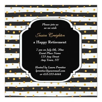 Modern Stripe and Dots Retirement Invitations