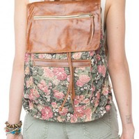 Brandy ♥ Melville |  Floral Leather Flap Backpack - Bags - Accessories
