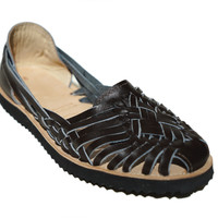 Women's Brown Woven Leather Huarache Sandal
