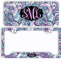 Pink Purple Aqua Paisleys License Plate Car Tag Monogram Frame Personalized Set Custom Initials Car Coasters Retro Floral