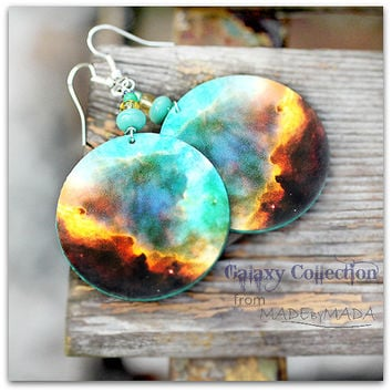 Galaxy Earrings Nebula Space Dangle Round Jewelry, diameter 4cm (1,57 inch) , gift for her under 25