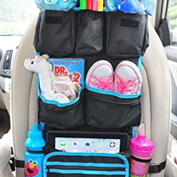 Backseat Organizer with a FREE Tire Pressure Gauge and an Ebook, a perfect combination with car seat stroller travel system and booster seat.