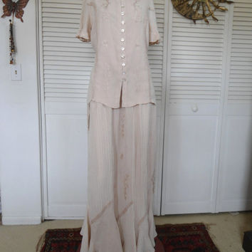 Vintage 70s Style Khaki Beige Rayon Embroidered Hippie Maxi Skirt Top Flair 2pc Outfit India Wedding Mother of the Bride/Groom Bohemian Blou