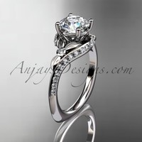 "Platinum diamond leaf and vine engagement ring with a ""Forever Brilliant"" Moissanite center stone ADLR112"