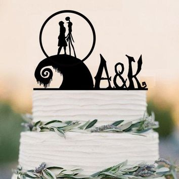 The Nightmare Before Christmas cake topper-acrylic wedding cake topper- party decoration-jack and sally cake topper