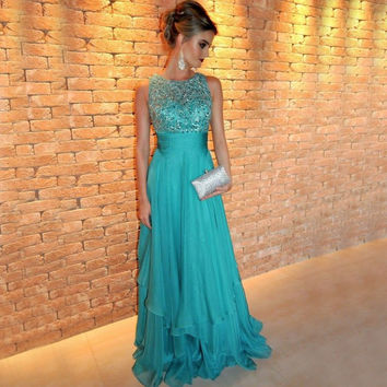 Abendkleider Luxury Shiny Handmade Rhinestone Beading Long Evening Dress Blue 2017 Chiffon Formal Dress Prom Dress
