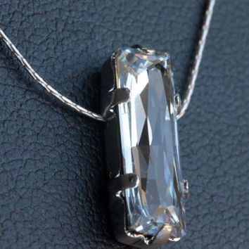 Swarovski crystal necklace - clear baguette pendant.  Sterling silver necklace.   Bridal Jewelry.  Wedding Jewelry