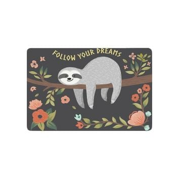 Autumn Fall welcome door mat doormat Cute Baby Sloth on the Tree Anti-slip  Home Decor, Follow Your Dream Quote Indoor Outdoor Entrance  AT_76_7