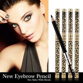 1pcs  Eyebrow Pencil & Brush eyebrow enhancer Longlasting makeup pencil to eye Two Sides With Brush Design Metal Casing