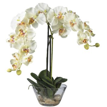 Artificial Flowers -White Phalaenopsis With Glass Vase Flower Arrangement