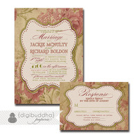 Chic Wedding Invitation & Response Card 2 Piece Wedding Suite RSVP Pink Rose Vintage Rustic DIY Digital or Printed - Jackie Style